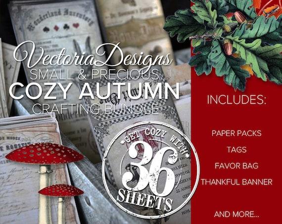Small & Precious Cozy Autumn Crafting Bundle, Fall Paper Pack, Autumn Tags, Fall Decor, Printable Favor Bags, Junk Journal, Ephemera 001801