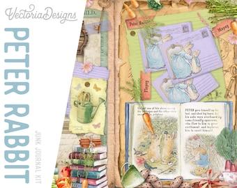 Peter Rabbit Junk Journal Kit, Printable Journal Pages, Beatrix Potter, Ephemera Digital, Baby Shower Journal, Crafting Kit  002160
