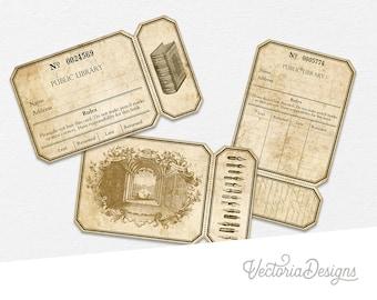 Library Tickets Digital, Junk Journal Printable, Ephemera Tickets, Scrapbooking Embellishments, Vintage Tickets, Download Tickets 001767