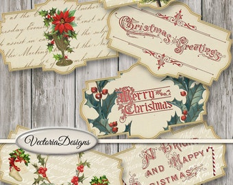Christmas Labels Printable, Vintage Christmas Labels, Christmas Decoration, Merry Christmas Digital, Christmas Gift, Xmas Labels 001480