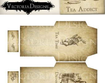 Printable Alice in Wonderland Tea Bag Holder envelope printable hobby crafting scrapbooking instant download digital collage sheet - VD0350