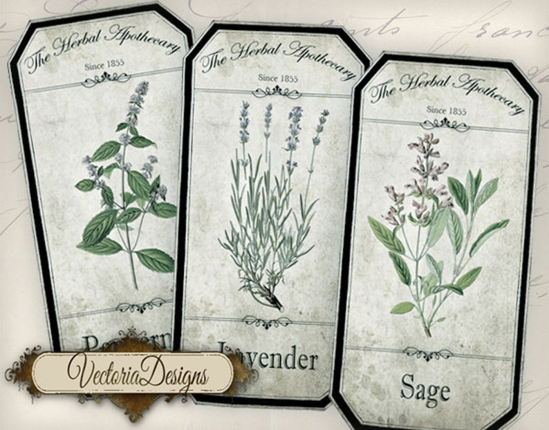 Shabby Herbal Apothecary Bottle Labels Jar Labels Tags instant image 0