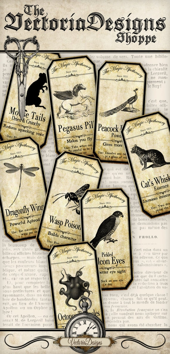 15 Large Magic Animals Apothecary Labels
