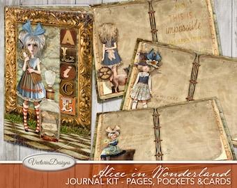Alice In Wonderland Papers, Junk Journal Kit, Printable Journal Pages, Craft Paper, Digital Paper, Instant Download, Alice Decor 001952