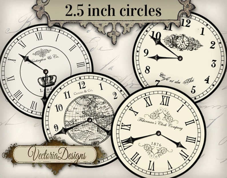 2.5 inch Vintage Clock images with without handles printable image 0