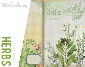 Herbs Journal Kit, Printable Junk Journal Kit, Digital Journal Kit, Journal Pages, Scrapbook Herbs Journal, Botanical Journal - 001983