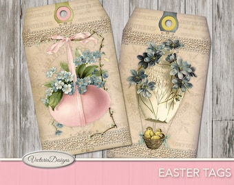 Printable Easter Tags, Easter Decor, Easter Bunny Tags, Easter Gift, Easter Collage Sheet, Digital Download, Scrapbook Easter 001070