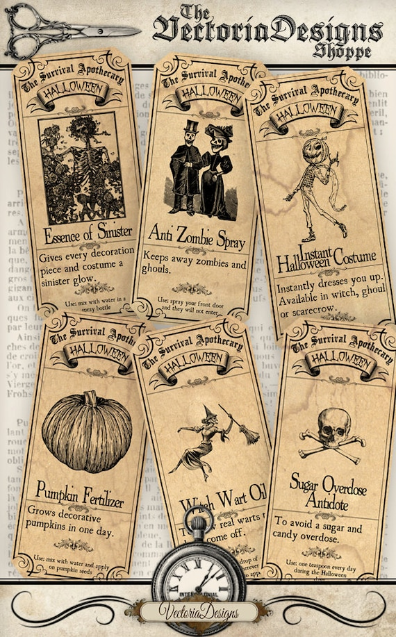 Survive Halloween Apothecary Labels