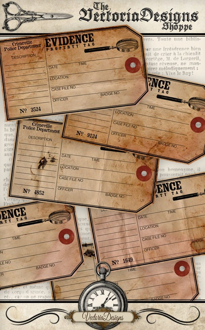 Evidence Tags Detective Labels Printable Images Detective image 0