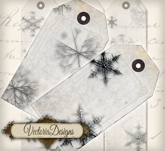Christmas Tags Printable, Snowflake Tags, Christmas Art, Snowflake Digital, Christmas Labels, Christmas Decoration, Snowflake LabelsVD0214