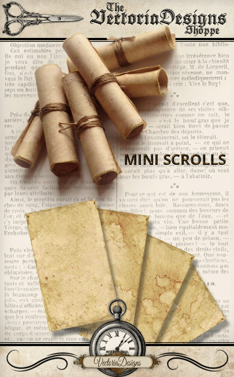 photograph regarding Scroll Paper Printable identify Mini Scrolls Do-it-yourself printable paper producing antique scrolls parchment electronic obtain quick down load electronic collage sheet - VDMIVI1268