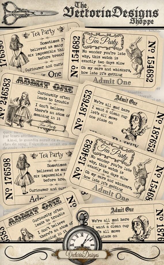 Alice In Wonderland Tea Party Tickets Quotes Invitation Etsy