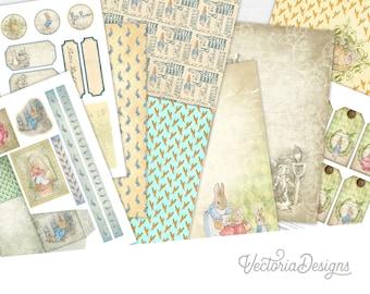 Peter Rabbit Kit, Digital Paper Kit, Junk Journal Kit, Digital Download, Peter Rabbit Printable Paper, Scrapbook Paper Beatrix Potter 001750