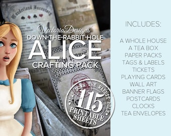 Alice in Wonderland Crafting Pack Printable Paper Crafting Scrapbook Embellishment Kit Collage Sheet S3I1 - VDMPAL1627