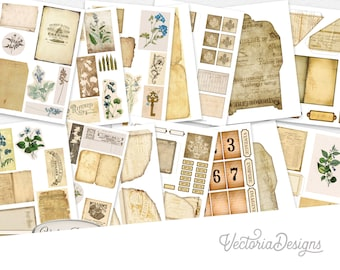 Ephemera Embellishments Set, Junk Journal Kit, Digital Ephemera, Printable Ephemera, Scrapbook Ephemera, Cardmaking Ephemera  002054