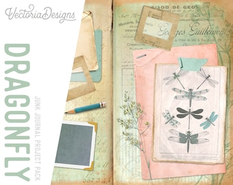 Dragonfly Junk Journal Crafting Kit Scrapbooking Notebook - Instant Download   002085