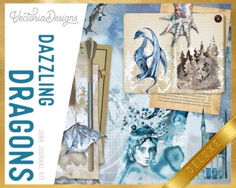 Dazzling Dragons DELUXE Junk Journal Kit, Journal Printables, Ephemera Junk Journal, Junk Journal Supplies, Dungeons And Dragons  002261