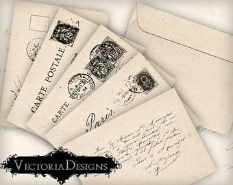 Printable Envelopes, Postcard Envelopes, Shabby Elegant Envelopes, Digital Download, Scrapbook Envelopes, Digital Stationery 000337