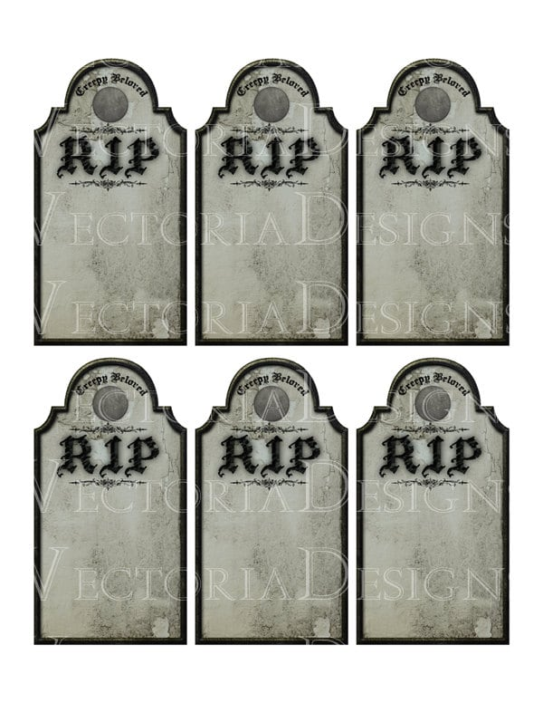 photograph about Tombstone Printable titled Halloween Tombstone tags decor printable paper craft artwork