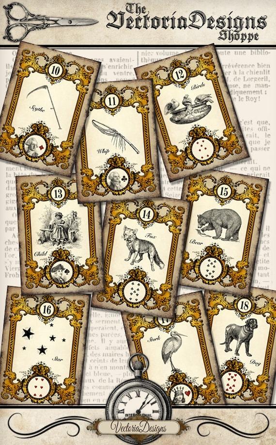 Printable Tarot Cards Mlle Lenormand Full Set Complete Diy Paper Crafting Scrapbook Instant Download Digital Collage Sheet Vdpcvi1388