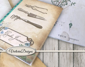 Garden Journal Kit Printable Journal DIY gardening junk journal pages crafting paper craft instant download digital sheet - VDKIVI1369