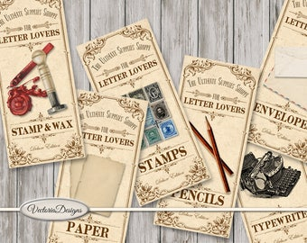 Letter Lovers Shoppe Labels printable apothecary paper crafting scrapbooking instant download digital collage sheet - VDAPVI1560