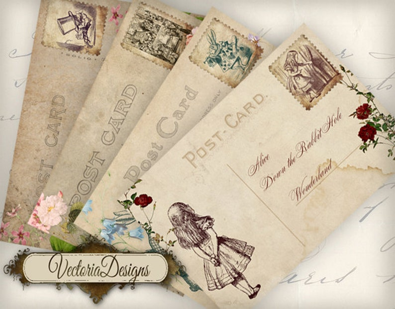 Printable Alice in Wonderland Postcards