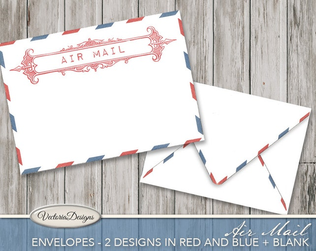 Vintage Air Mail Envelopes Printable Envelopes printable paper craft ink saver crafting instant download digital collage sheet - VDENRE1798
