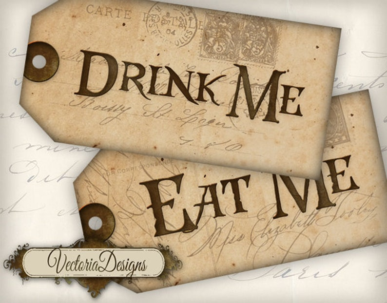 Printable Drink Me Eat Me Tags Alice in Wonderland Decor Party Favors
