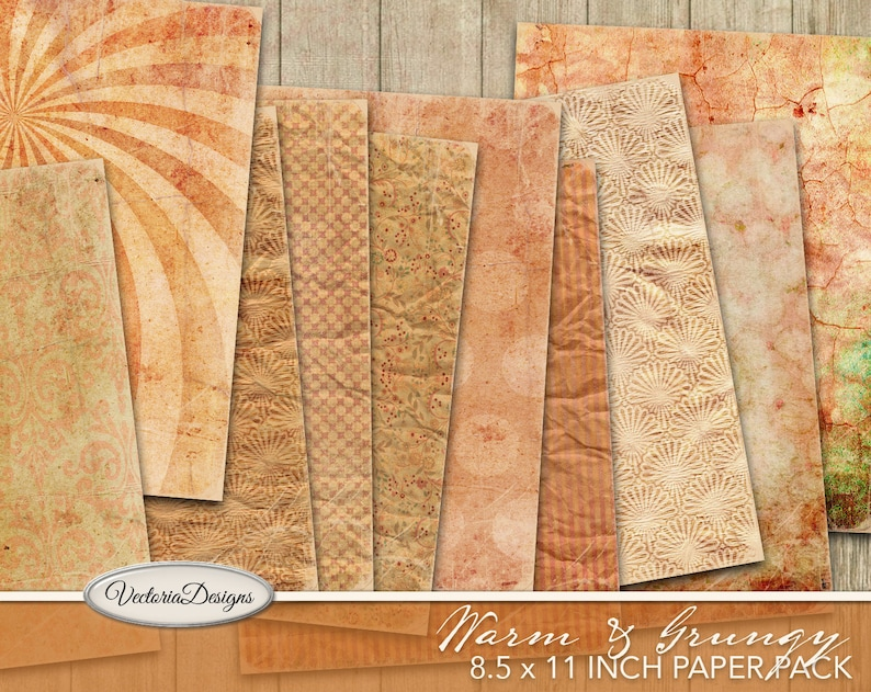 Warm & Grungy 8.5 x 11 Inch Paper Pack printable  vintage junk image 0