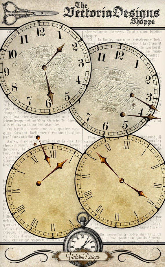 Printable Clock Assemble Yourself Vintage Hands