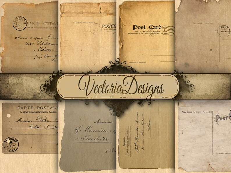 VD0457 Postcard Papers 12 x 12 inch digital paper pack paper crafting digital scrapbooking instant download printable digital sheet