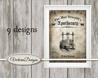 Mad Scientist Mini Posters Halloween printable art prints wall art craft paper instant digital download digital collage sheet - VDPOHA1445