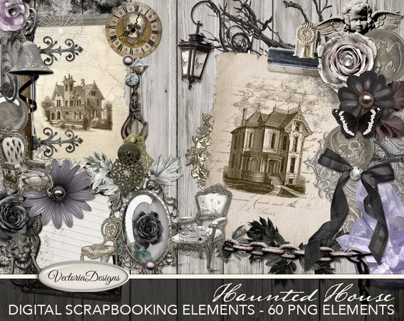 Haunted House Digital Scrapbooking Elements