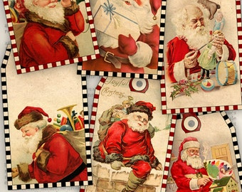 Vintage Christmas Santa Tags printable tags vintage christmas gift tags digital graphics instant download Digital Collage Sheet- VDTACM1013