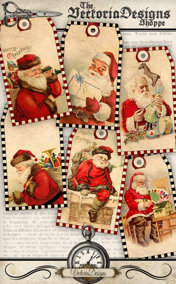 Vintage Christmas Santa Tags