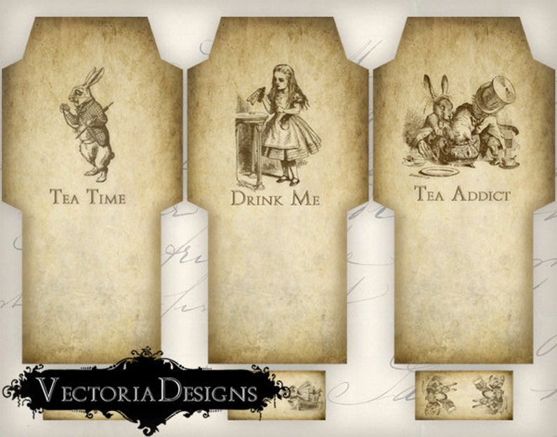 Printable Alice in Wonderland Tea Bag Holder