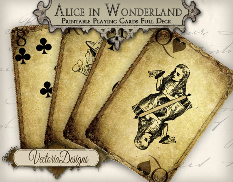 Printable Alice in Wonderland playing cards grunge