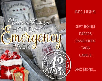 Holiday Emergency Pack Christmas Printables paper crafting gift wrapping instant download Digital Download - VDSPCM1718