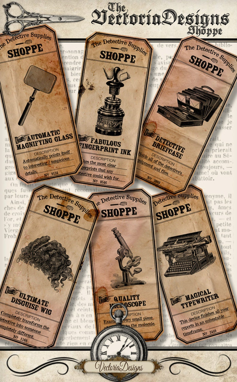 Detective Supplies Shoppe Labels Printable detective sherlock image 0