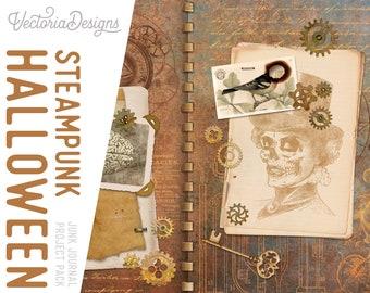 Steampunk Halloween Junk Journal Project Pack With Video Tutorial, Halloween Project Pack, Halloween Decoration Steampunk, Halloween 002080