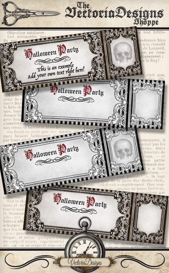 halloween party invitation ticket printable party ticket skull etsy
