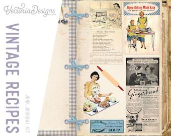 Vintage Recipe Junk Journal Kit, Printable Journal, Cookbook Digital, Recipe Printable, Vintage Cookbooks, Craft Kit, DIY Kit, Chef 001951