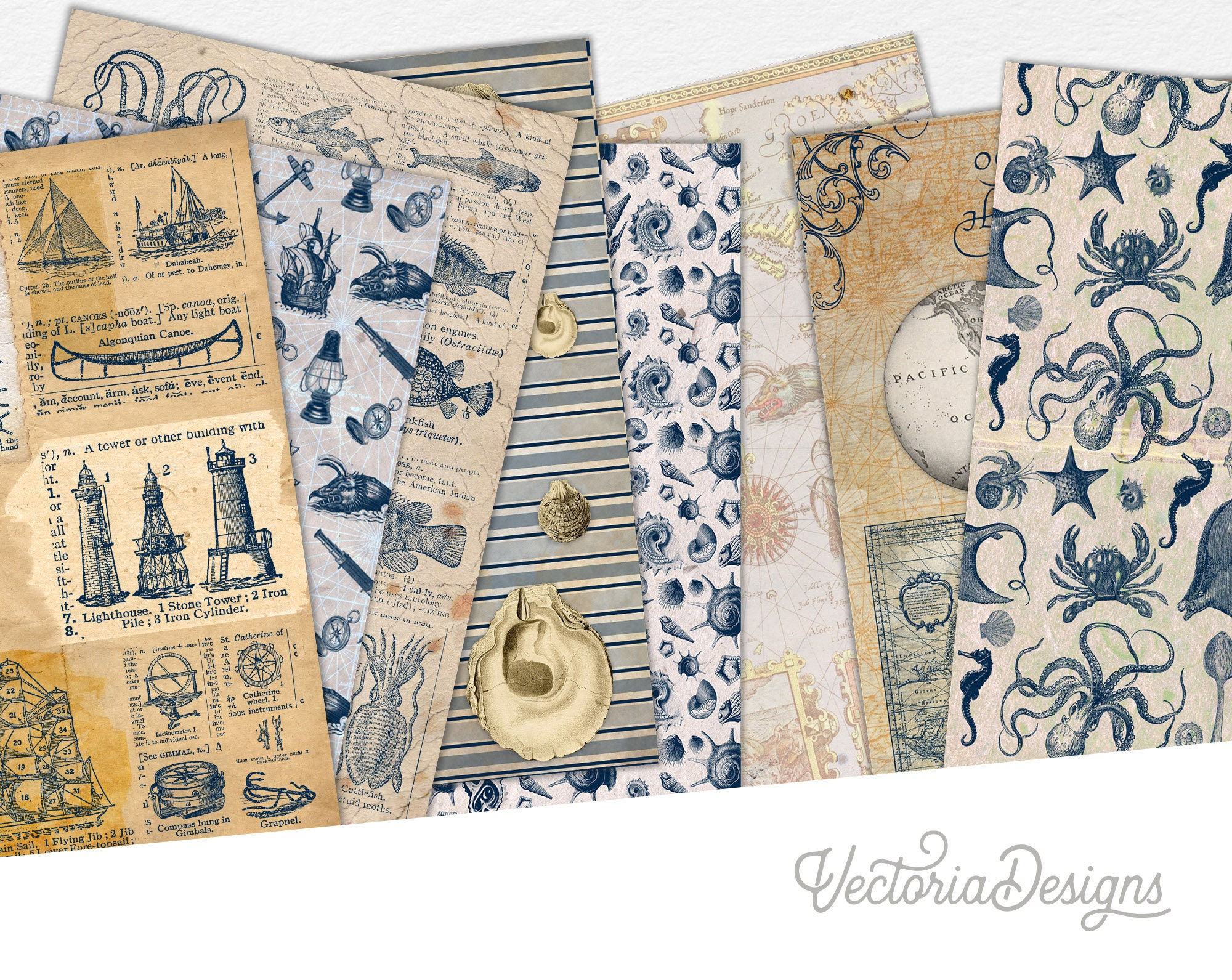 View Nautical Motifs Digital Papers Design