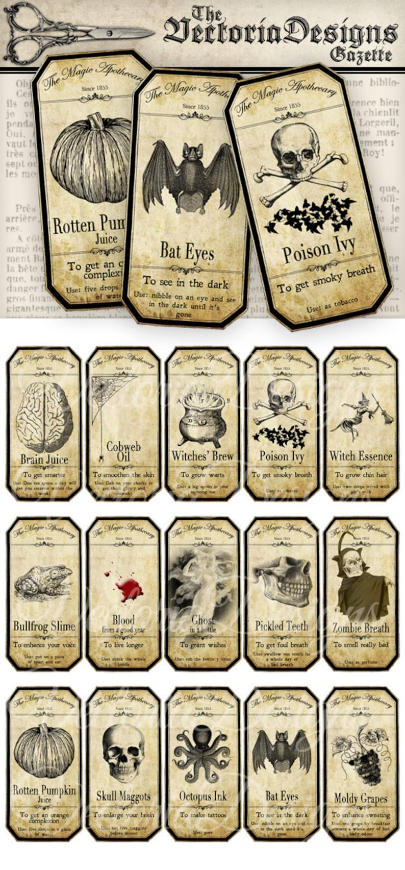 graphic about Free Printable Apothecary Jar Labels identify Printable Tiny Halloween Apothecary Jars Labels Tags Producing sbooking instantaneous down load printable photos electronic collage sheet - VD0125