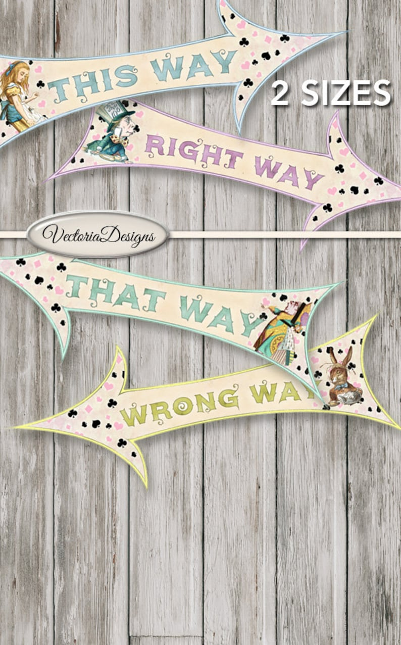 Alice in Wonderland Party Arrows Large