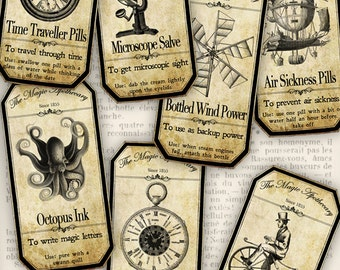 Steampunk Apothecary Labels halloween apothecary printable craft hobby crafting scrapbooking instant download digital collage sheet - VD0151