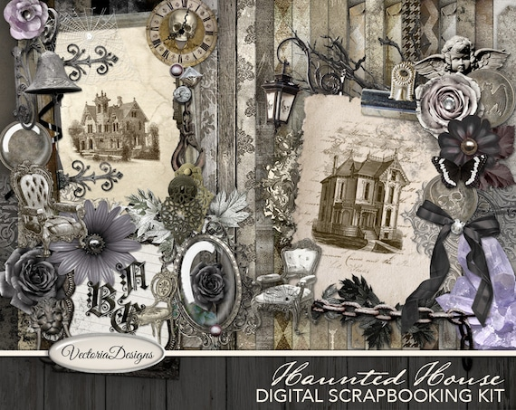 Haunted House Digital Scrapbooking Kit