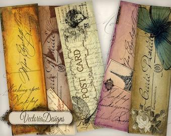 Vintage Post Bookmarks reading printable paper craft art hobby crafting scrapbooking instant download digital collage sheet - VD0264