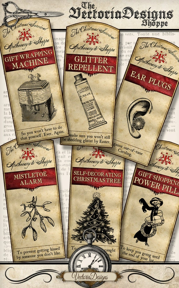 Survive Christmas Apothecary Labels Tags